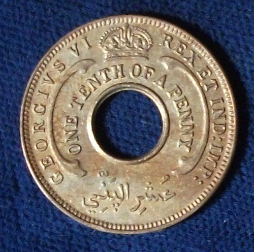 1943 British West Africa 1/10 Penny UNC