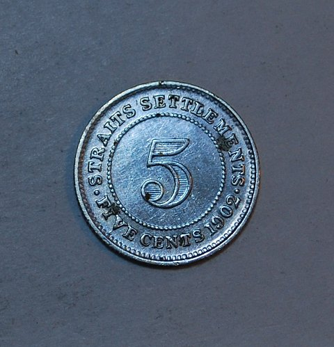 STRAITS SETTLEMENTS 5 CENTS 1902 sliver cleaned