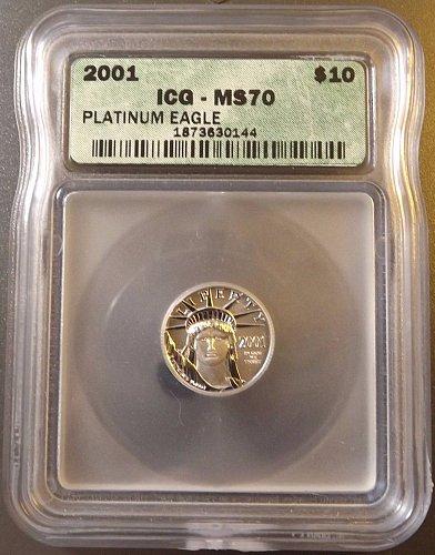 $1,750.00 Coin!! 2001 ICG PERFECT MS70 $10 PLATINUM EAGLE!!!