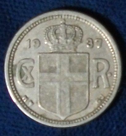 1937(h) N-GJ Iceland 25 Aurar VF