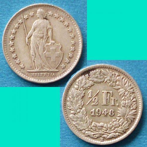 Switzerland Swiss Suisse 1/2 Half Franc 1948 km 23 Silver Argent Silber