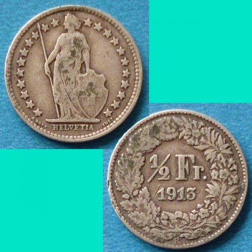 Switzerland Swiss Suisse 1/2 Half Franc 1913 km 23 Silver Argent Silber