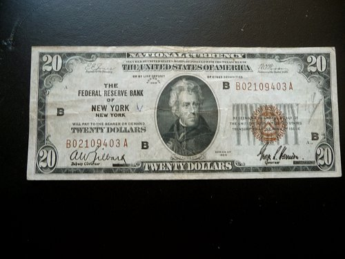 1929 National Currency   $20.00