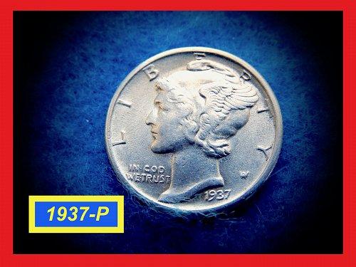 "1937-P Mercury Dime ✬ Extreemly Nice ""AU-50"" Coin ✬ (#3550)"