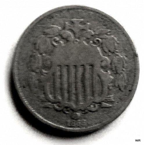 1868 P Shield Nickel::Early Five Cent Nickel