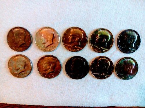 (2)  1966 P,  (2 )  1967 P,  (6)  1968 D Toned 40% Silver Half Dollars  (10) Tot