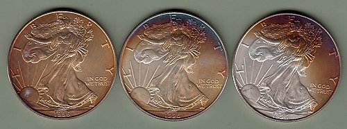 Beautifully Toned:  3 - 1996 American Eagle Dollars   /  DR-44