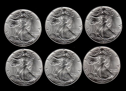 1987 :  Selection of 6  Silver Eagles-  Treasury  Stock  /    DR45