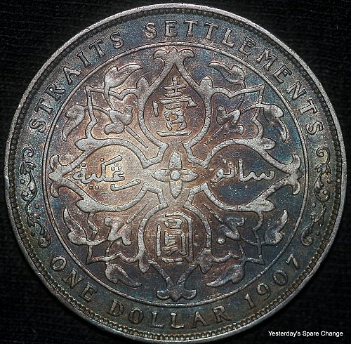 "1907 Nicely Toned Straits Settlements KM-25 ""Edward VII"" Silver Dollar!!"