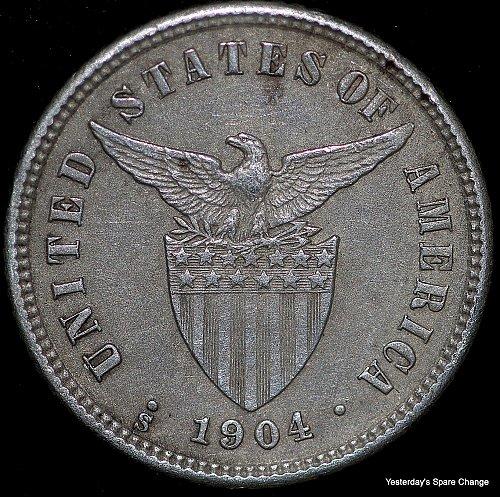 1904-S Nice High Grade Philippines KM-165 Silver Ten Centavos!!