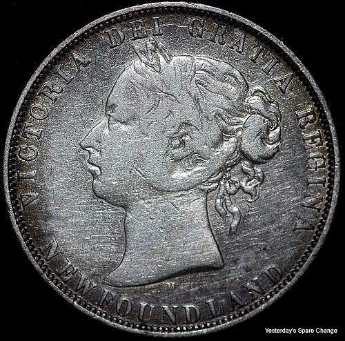 """1872-H Nice Grade Newfoundland KM-06 """"Queen Victoria"""" Semi Key-date Fifty Cents!"""