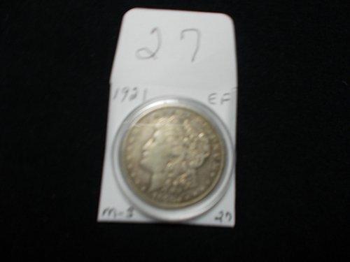 1921  S  MORGAN 90% SILVER  X/F  # 27