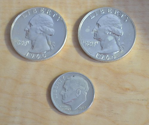 90 % Silver Coin Lot - 1960 and 1964 Proof Quarter, 1947 S Roosevelt Dime