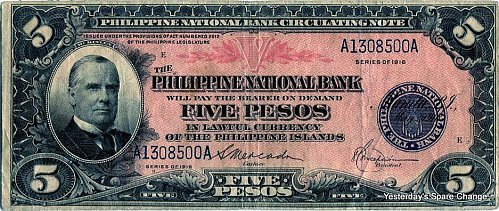 1916 Nice Grade Philippines P46.6 Five Pesos Note!!