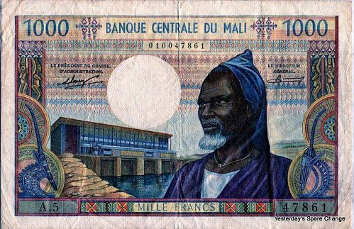 ND Nice Grade Central Bank of Mali P13.a One Thousand Francs!!
