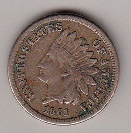 Indian Head  Cent  from  1861  / WM-49