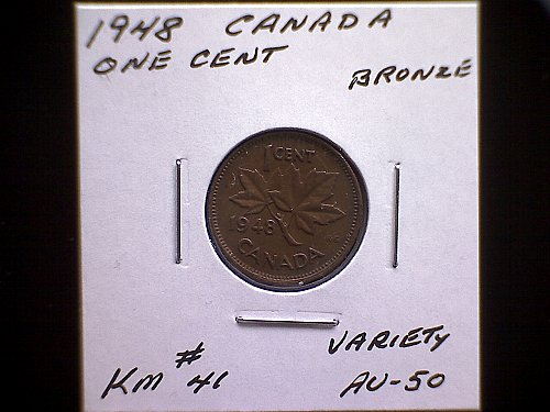 """1948 CANADA ONE CENT  KING GEORGE V1  """"VARIETY"""""""