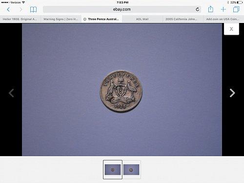 1925 Threepence Coin  Australia  Silver, 16 mm diameter.