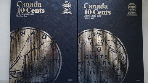 2 WHITMAN CANADIAN TEN CENT  FOLDERS 1858-1936, 1937-89