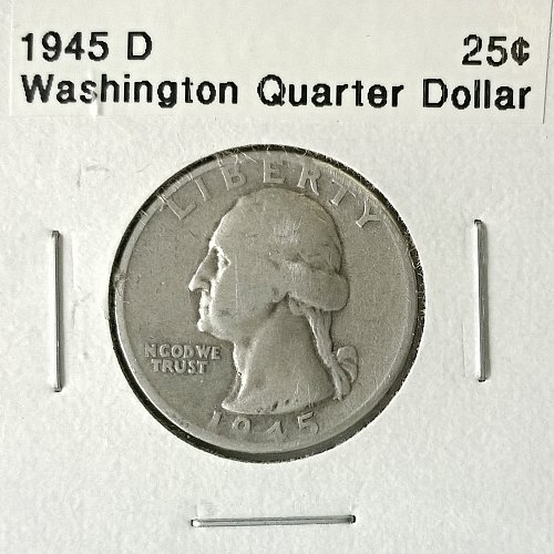 1945 D Washington Quarter Dollar - 4 Photos!