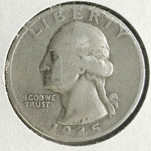 1945 D Washington Quarter Dollar - 4 Photos!