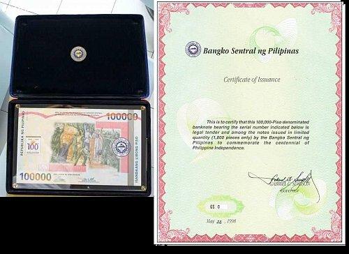 1998 Philippine 100,000 Peso-Bill - World Largest Banknote