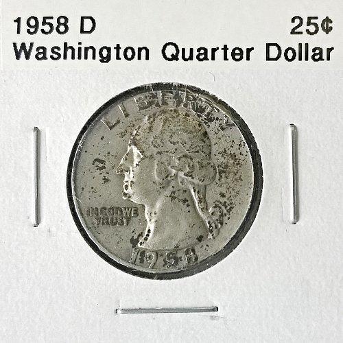 1958 D Washington Quarter Dollar - 4 Photos!