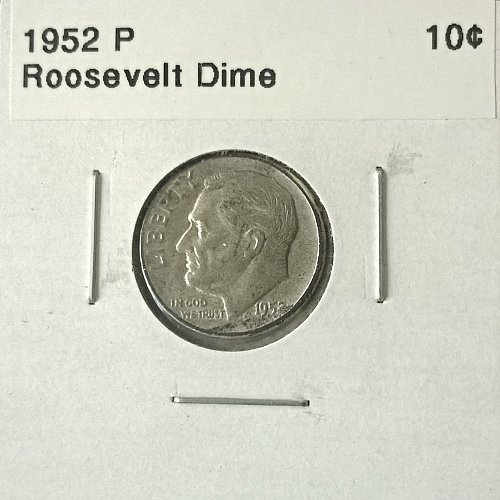 1952 P Roosevelt Dime - 4 Photos!