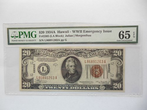 *RARE* 1934-A *PMG 65* $20 Federal Reserve Note *Hawaii* Emergency Issue Bill