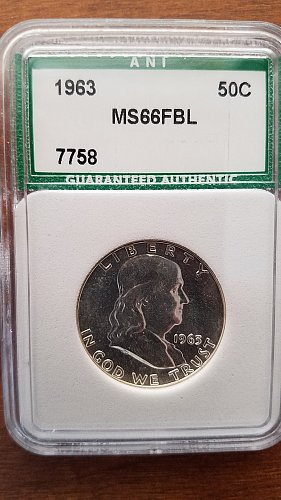 1963 Franklin Half Dollar ANI MS66FBL