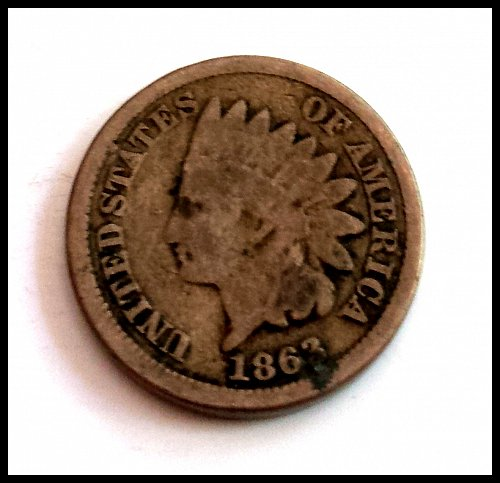 1863 P Indian Head Cent Small Cents: Copper-Nickel Oak Wreath With Shield