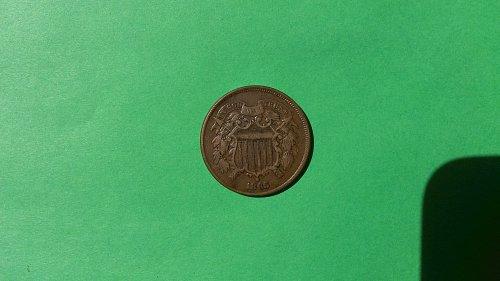 1865 2 CENT PIECE XF