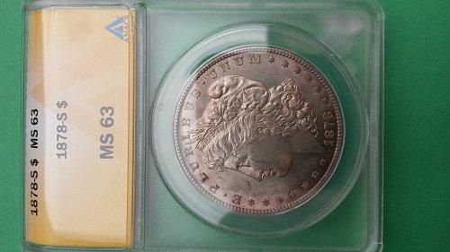 1878 S MS63 MORGAN DOLLAR  DDO RIB
