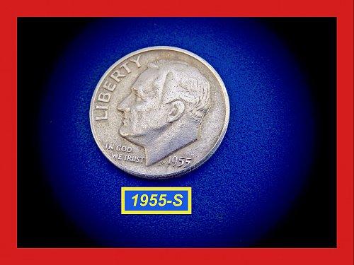 """1955-S Silver Dime  ✬  """"VF"""" Condition    ✬   (#3565)⇚"""