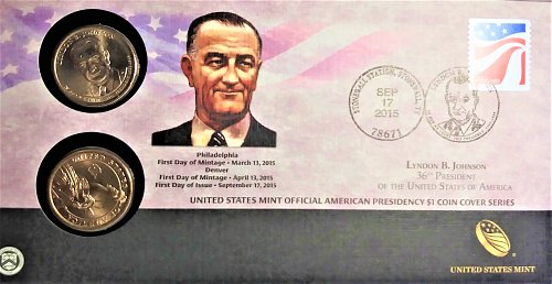 Official Lyndon Johnson 2015 Cover letter has both P&D 1$ Cover-only 15,000 made