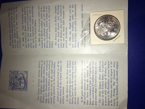 Uncirculated never touched Wallace idaho 1884 Morgan silver dollar