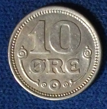 1921(h)HCN;GJ Denmark 10 Ore AU/UNC