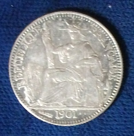 1901 French Indo-China 10 Cents XF