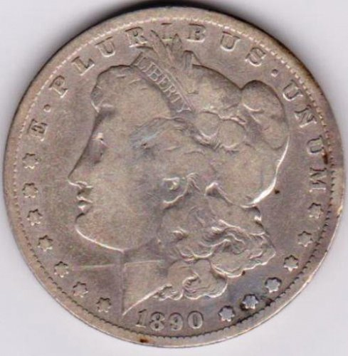 1890-O Morgan Silver Dollar.