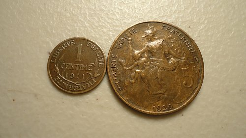 FRANCE 1911 CENTIME, 1920 5 CENTIMES and A 1915 10 CENTIMES