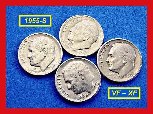"1955-S Silver Dime  ☆  ""XF-40"" Condition    ☆   (#3572)a"