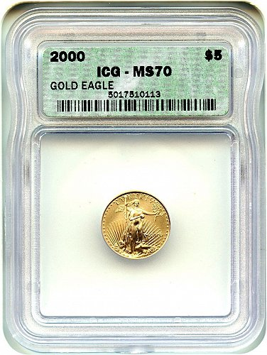 2000 $5 American Gold Eagle  ICG MS70