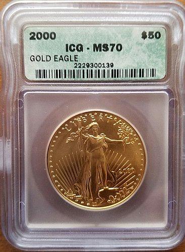 2000 $50 Gold Eagle - ICG MS70