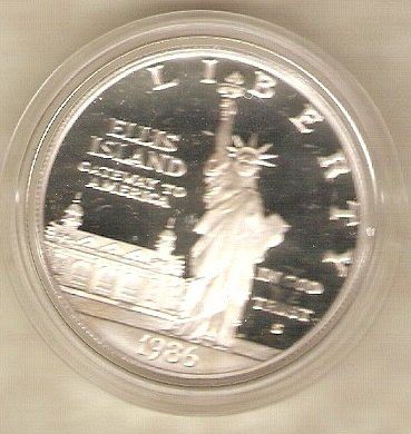 1986 S Statue of Liberty Silver Dollar Frosted Deep Mirrorlike Proof