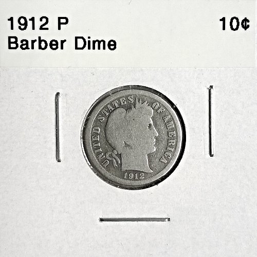 1912 P Barber Dime - 6 Photos!