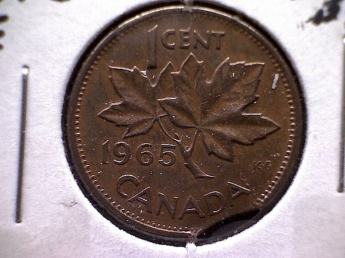"1965 CANADA 0NE CENT QUEEN ELIZABETH 11  ""CLIPPED PLANCHET"""