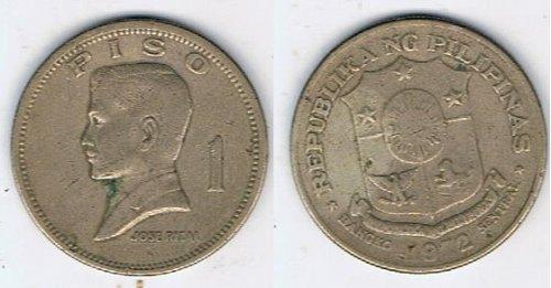 1972 Philippines One Peso Jose Rizal - CIRCULATED