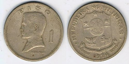 1974 Philippines One Peso Jose Rizal - CIRCULATED