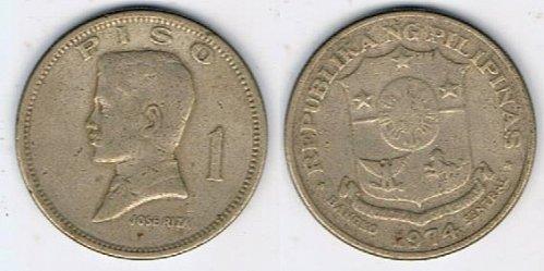 1974 Philippines One Peso Jose Rizal - CIRCULATED