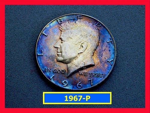 """1967  Kennedy Half Dollar ★ """"AU-55"""" ★ TONED ☆(#1731)a"""